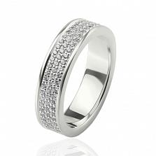 Обручальное кольцо Водопад с белыми бриллиантами