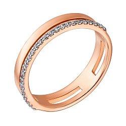 Кольцо в красном золоте с фианитами 000040739