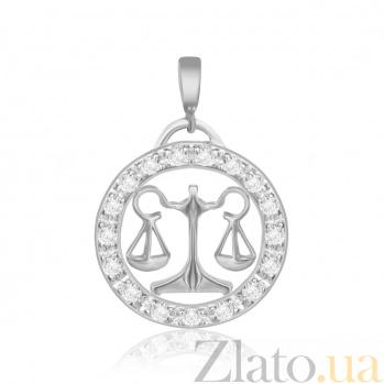 Серебряный подвес с кристаллами циркония Весы  000025313