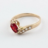 Золотое кольцо Соблазн с гранатом и фианитами