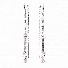 Серебряные серьги-протяжки Зимний полдень с белым жемчугом и цирконием