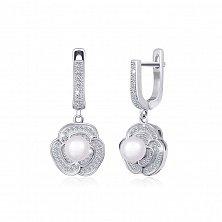Серебряные серьги-подвески с жемчугом Розалинда