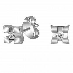 Серьги-пуссеты из белого золота Ромбино с бриллиантами