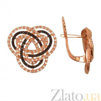 Серьги из красного золота с цирконием Фейерверк VLT--ТТ296-5