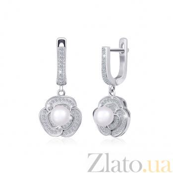 Серебряные серьги-подвески с жемчугом Розалинда 000024617