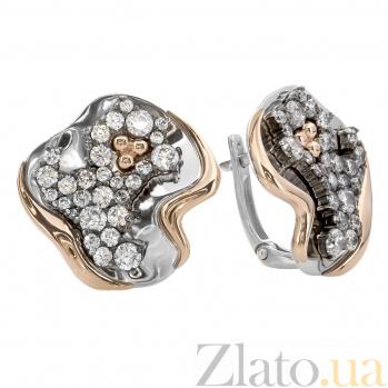 Серебряные серьги с фианитами и золотом Юджина 000030180
