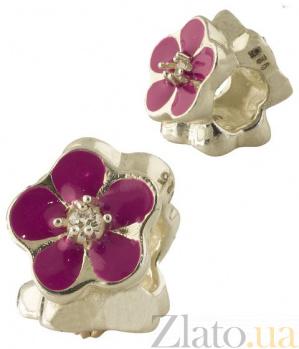 Серебряный шарм Летний цветок с розовой эмалью 000078235