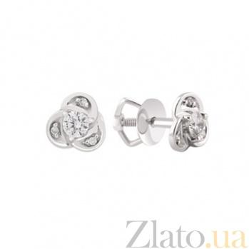 Золотые серьги с бриллиантами Ивон KBL--С2406/бел/брил