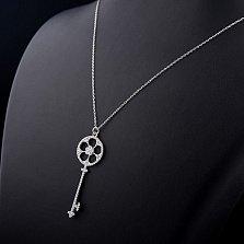 Серебряное колье Ключик-цветочек с фианитами