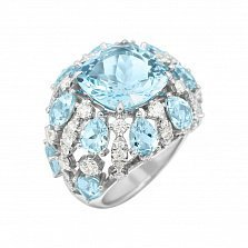 Кольцо из белого золота Семирамида с бриллиантами и топазами