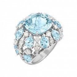 Кольцо из белого золота с бриллиантами и топазами 000081989