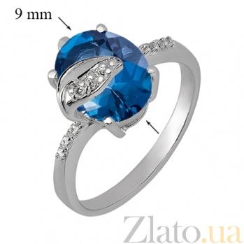 Серебряное кольцо с Лондон топазом и фианитами Восхищение 41276