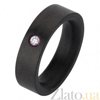 Кольцо из карбона с камнями Swarovski Трио в ночи CJ004