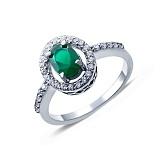 Серебряное кольцо с зеленым агатом и цирконами Клеопатра