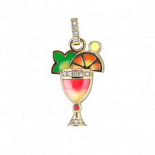 Золотой подвес Party Strawberry Dawn с бриллиантами и цветной эмалью