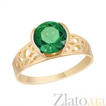 Кольцо в красном золоте Амалия с синтезированным зеленым кварцем 000023470