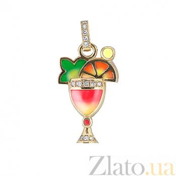 Золотой подвес Party Strawberry Dawn с бриллиантами и цветной эмалью 000029849