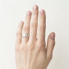 Серебряное кольцо Отче наш с черным брилиантом и текстом молитвы (ширина шинки 7мм)