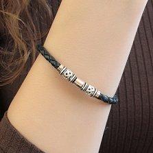 Кожаный браслет Амала с серебряными вставками, золотыми накладками и черной эмалью, 6мм