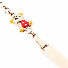 Детский золотой браслет с цветной эмалью Мишка и цветок