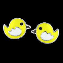 Детские серебряные сережки-пуссеты Птички с эмалью