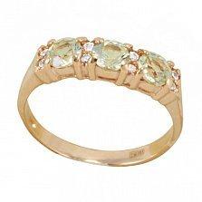 Золотое кольцо Фаина с оливковыми бериллами и фианитами