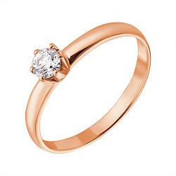 Кольцо из красного золота с бриллиантом 0,2ct 000034611