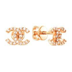 Серьги-пуссеты из красного золота с цирконием в стиле Шанель 000036587