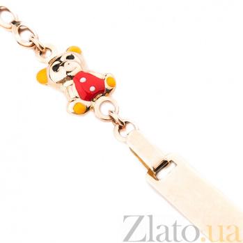 Детский золотой браслет с цветной эмалью Мишка и цветок ONX--б02132
