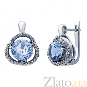 Серьги серебряные с топазом и цирконами Лаурина AQA--E01082T
