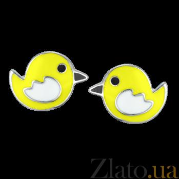 Детские серебряные сережки-пуссеты Птички с эмалью 000080574
