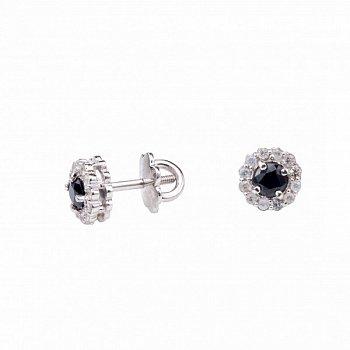 Серебряные серьги-пуссеты с сапфирами и лейкосапфирами 000050740