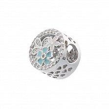 Серебряный шарм Весенний букет с фианитами, голубой и белой эмалью