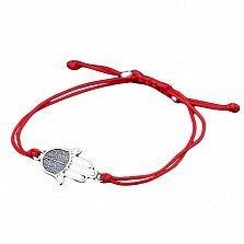 Шелковый браслет Хамса с серебряной вставкой