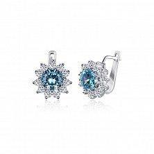Серебряные серьги с голубыми фианитами Мишель