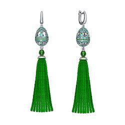 Серебряные серьги-подвески Кораллы с зеленым полимером и алпанитами 000072610