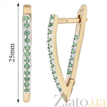 Серебряные серьги с зеленым цирконием Ланита SLX--С3ФИ/043