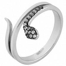 Кольцо в белом золоте Змейка с фианитами