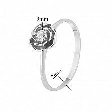 Кольцо из белого золота с бриллиантом Весенняя роза