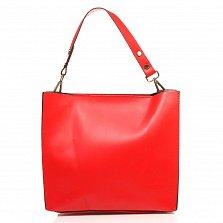 Кожаная деловая сумка Genuine Leather 8910 красного цвета на молнии, с металлическими ножками