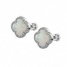 Серебряные серьги-пуссеты Элеонора с белыми перламутром и фианитами в стиле Ван Клиф