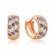 Золотые серьги-кольца Луиза с фианитами