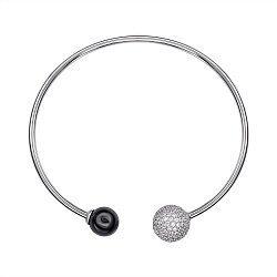 Литой серебряный браслет с керамикой и фианитами 000147513