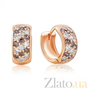 Золотые серьги-кольца Луиза с фианитами EDM--С079К