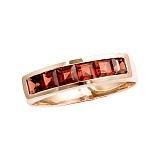 Золотое кольцо в красном цвете с гранатами Меган