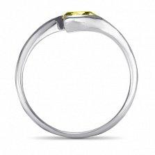 Серебряное кольцо Тонкие грани с цитрином