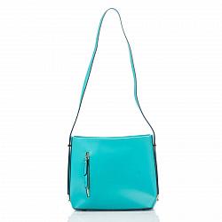 Кожаная сумка на каждый день Genuine Leather 8619 бирюзового цвета с одним отделением на молнии