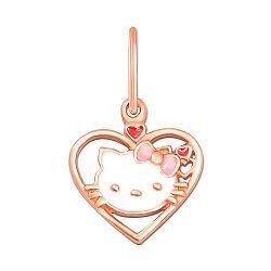 Кулон-сердце из красного золота Hello Kitty с белой, розовой и красной эмалью