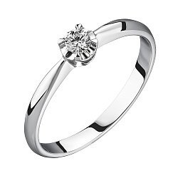 Помолвочное кольцо из белого золота с бриллиантом 0,08ct 000050487