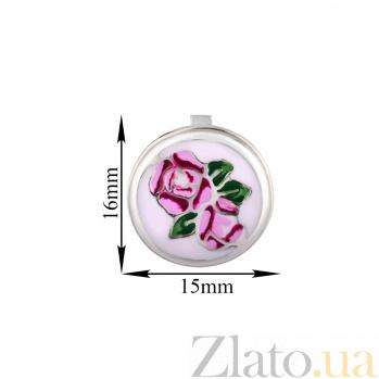 Серебряные серьги Розалинда с разноцветной эмалью 000080055